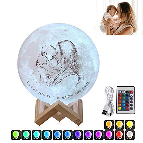 Junmei Personalized Photo Lamp Night Light with Your Own Picture & Text, 3/16 Colors Customized 3D Printed Moon Moon Lamp Moon Light with Stand & Touch Control and USB Rechargeable