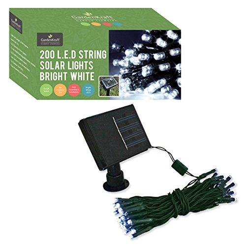 GardenKraft 25730Solare Stringa luci con 200LED–Bianco Brillante