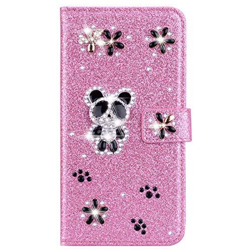 Xifanzi - Funda tipo cartera para Samsung Galaxy S5 con purpurina, diseño de panda, color rosa, hecha a mano, con función atril magnético para tarjetas de identificación, color rosa