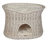 Pemicont Floranica® - L, XL Weißer Katzenkorb Katzenbett mit/ohne Kissen (wählbar), Kissenfarbe:helle Kissen, Größe:L (B 61cm T 42cm H 48cm)