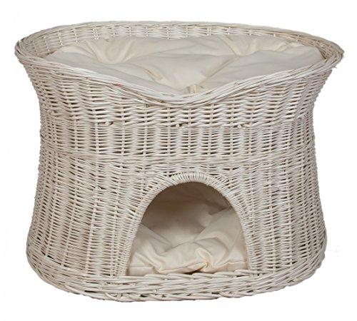 Pemicont Floranica® - L, XL Weißer Katzenkorb Katzenbett mit/ohne Kissen (wählbar), Kissenfarbe:helle Kissen, Größe:XL (B 70cm T 50cm H 50cm)