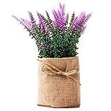 Epartswide - Plantas artificiales pequeñas, plantas artificiales de plástico verde, flores de lavanda en arpillera, decoración para casa de granja para el hogar (morado)