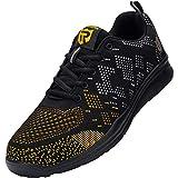 LARNMERN Zapatos Seguridad con Punta de Acero para Hombre Mujer Zapatillas Seguridad Ligeras (47 Gold)
