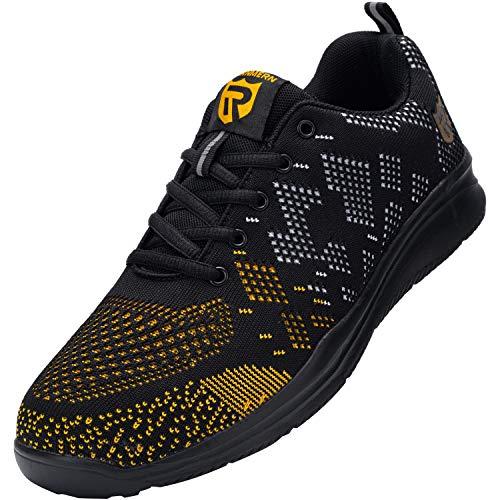 LARNMERN Zapatos Seguridad con Punta de Acero para Hombre Mujer Zapatillas Seguridad Ligeras (45 Gold)