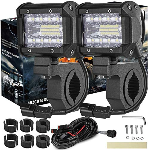 SUZCO 4INCH 60W 3 Row Offroad Led Work Light Bar Driving Wiring Harness Switch KIT COMBO Spot product image