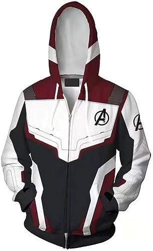 BQT 3D Anime Avengers 4 Sweat Quantum Warrior Concept Zip Sweat à Capuche,S
