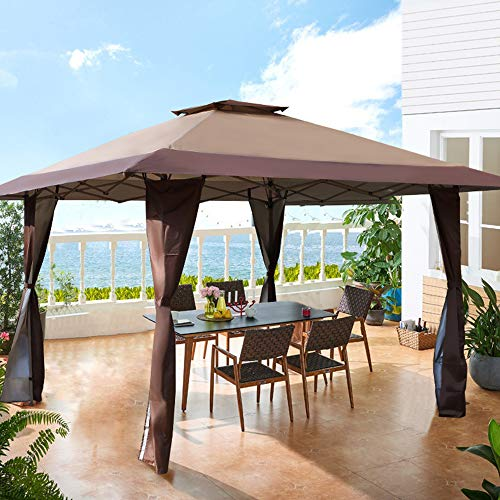 PHI VILLA 13'x13' UV Block Sun Shade Gazebo Canopy with Hardware Kits, Gazebo Shade for Patio Outdoor Garden Events, Brown