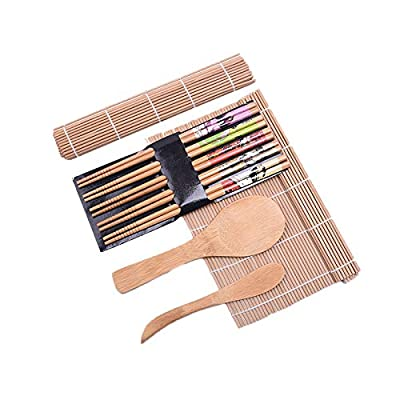 Sushi Making Kit Bamboo | Colorful, All Natural, Biodegradable Materials | 2 Rolling Mats, Spoon and Knife Spreader for Meat and Rice | 5 Pairs Chop Sticks Ornately Made | By Moon Mystique Home Decor