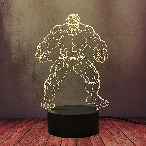 Avengers League Savage Hulk kreative Lampe LED 3D Schlaf Nachtlicht Virtual Superheld Bruce Banner Bunte Neuheit Lampe USB Kinder Baby Schlafzimmer Beleuchtung Geschenk Nachtlampe Decor Lava Birne