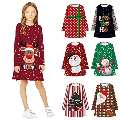 Bumplebee Weihnachtskleid Mädchen Langarm 3D Digitaldruck Prinzessin Kleid Kinder Herbst Winter Polka Dots Kleid Mädchen Hirsche Drucken Weihnachten Kleid Mädchen Festlich