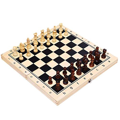 MNBV Juego de Tablero de ajedrez Tablero Plegable/portátil Tablero de ajedrez de Madera Tablero de ajedrez para Adultos y niños con Piezas Grandes Caja de Viaje Plegable portátil