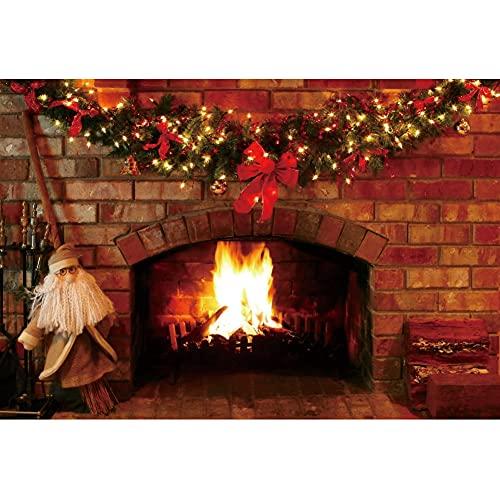 Leowefowa 2,5x1,8m Vinilo Navidad Telon de Fondo Telón de fondo de chimenea de ladrillo Decoración de Navidad Papá Noel Suelo Sesiones de fotos Fiesta de año nuevo Accesorios estudio Fondos fotografía