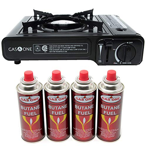 Gas ONE GS-3000 Portable Gas Stove with Carrying Case, 9,000 BTU, CSA Approved, Black (Stove + 4 Fuel)