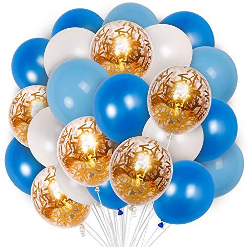 PartyWoo Ballon Bleu Blanc Or, 70 pcs 12 Pouces Ballon Bleu Marine, Ballons Bleus, Ballon Bleu Ciel, Ballon Bleu Roi, Ballon Blanc, Ballon Confettis Or pour Deco Fete Bleu, Petit Prince Anniversaire