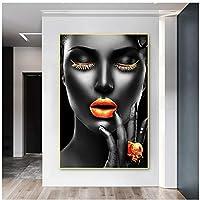 黒人女性黄金の唇壁にキャンバスの絵画高貴な女性の写真プリントキャンバスポスターホームデザインの現代アートの写真40x60cm(16x24in)