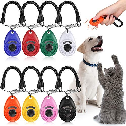 Sumind 8 Piezas Clickers de Adiestramiento de Perros con Cordón de Muñeca Pulsadores de Adiestramiento de Mascotas con Botón Grande para Entrenamiento de Comportamiento de Mascotas