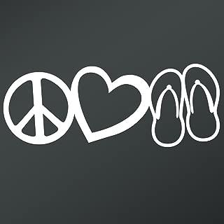 Peace Love Flip Flops Vinyl Decal Sticker | Cars Trucks Vans Walls Laptops Cups | White | 7.5 X 2.9 Inch | KCD1672