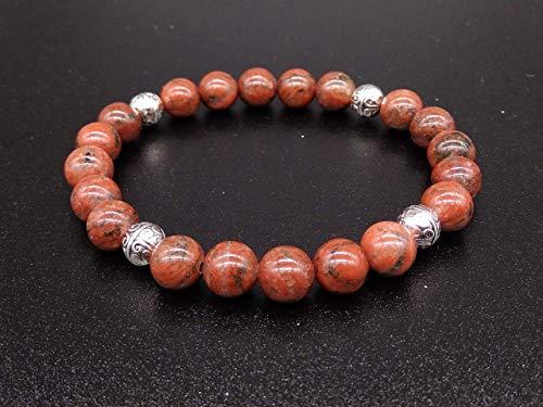 Bracciale Azteco Unisex in Diaspro Rosso con Sfere in Metallo, Pietre Dure, Elastico 19cm, Fatto a Mano