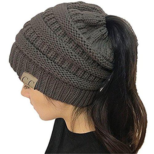 YOUFAN Frauen BeanieTail Soft Stretch Zopfmuster Unordentlich Hohe Bun Pferdeschwanz Beanie Hat Cap (Grau)