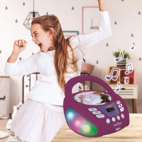 Lexibook- Disney La Reine des neiges 2-Lecteur CD Bluetooth pour Enfants-Portable, Effets Lumineux, Prise Micro, Entrée aux-in, Pile ou Secteur, Filles, Garçons, Violet, RCD109FZ