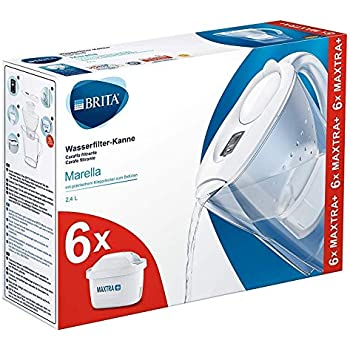 BRITA Marella Fridge water filter jug for reduction of chlorine, limescale and impuities, White, Includes 6 x MAXTRA+ filter cartridges, 2.4L