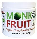 NAMANNA Organic 100% Monk Fruit Sweetener - Zero Calorie, Zero Carb, Paleo Safe (25% Mogroside V, 100g, 2,000 Servings)