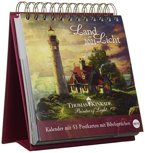 Thomas Kinkade Premium-Postkartenkalender 2021 - Wochenkalender zum Aufstellen mit 53 perforierten Postkarten - mit Spiralbindung - Format 16,5 x 17,7 cm