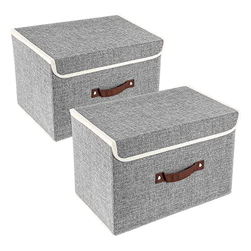HDHUIXS Paquete de 2 cajas de almacenamiento de tela con tapa y asa, caja de almacenamiento plegable gris utilizada en guardería, armario, dormitorio, hogar
