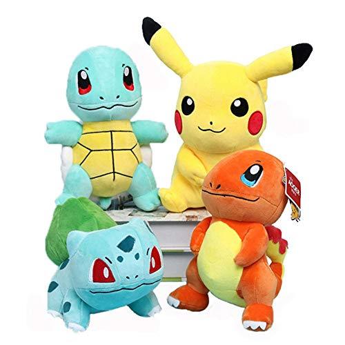 EOFK Pọkémọn Stuffed Animals- Pọkémọn Plush Toys 4 Pack - Pịkáchụ, Charmander, Squirtle & Bulbasaur Plush Plushies Toy