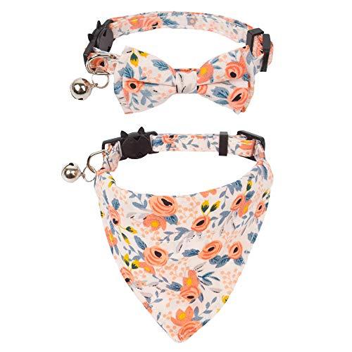 ADOGGYGO Breakaway Cat Collar with Bow Tie Bandana, Kitten Collar with Removable Bowtie Bandana Cute...