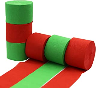 Christmas Crepe Paper Streamer Rolls Hanging Party Decoration Total 490-Feet, 6 Rolls, Theme Party Streamer for Christmas Party Wall Decorations DIY Art Project Supplies, Red & Green, by BllalaLab