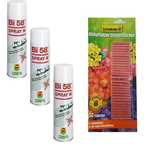 hagebauSPN 3 X 400 ml BI 58 Spray + 30er Düngestäbchen Gartenkrone