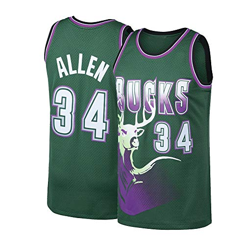 Pdqgd Men's Allen Jersey Adult Milwaukee Basketball Jesus 34 Ray Green (X-Large)