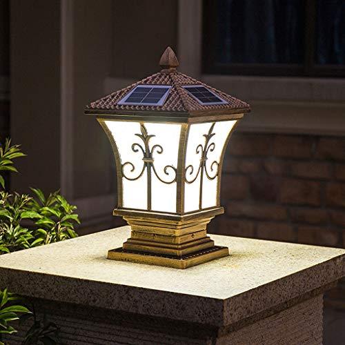 Chunse Lampe de tête de Colonne Solaire télécommandée, Lampe Murale Colonne de Poteau européenne Lampe extérieure étanche Villa extérieure Porte Pilier,Brass,L
