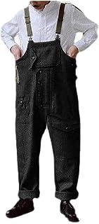 neveraway Men's Middle Waist Straight Leg Summer Multi-Pockets Relaxed Bib Overall