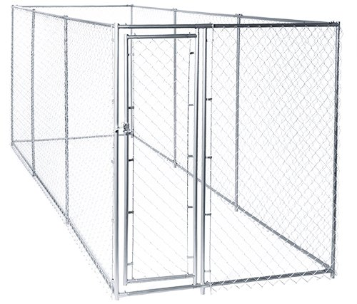 Lucky Dog 61528EZ 10' x 10' x 6' Heavy Duty Outdoor Galvanized Chain Link Dog Kennel Enclosure with 2 Configurations