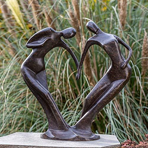IDYL Bronze-Skulptur Abstraktes Tanzendes Paar | 61x29x59cm | Moderne Bronze-Figur handgefertigt | Gartenskulptur - Wohnbereich-Dekoration | Hochwertiges Kunsthandwerk | Wetterfest