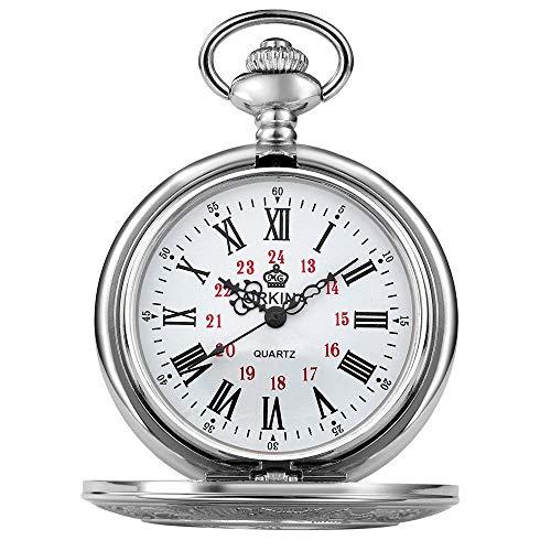 liuzecai Reloj de Bolsillo de Cuarzo Se Puede Utilizar como un Regalo for Shell Reloj de Bolsillo de Bolsillo mecánico de Pulsera de Plata de los Hombres de los Hombres (Color : Silver)
