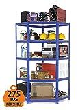 Racking Solutions - Sistema de almacenamiento en esquina de acero, cargas pesadas, estantería de esquina (5 niveles 1800mm Al x 900mm An x 450mm Pr) capacidad de carga total 1375kg + Envío gratis