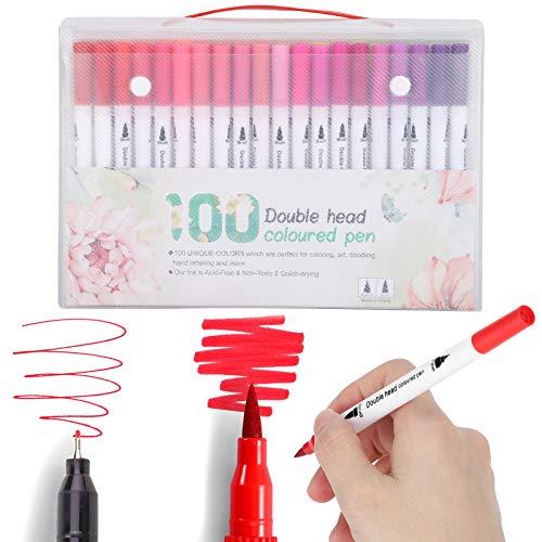 Marcadores de colores, bolígrafos de acuarela de punta suave, pincel doble 60/80/100 para adultos para profesionales(STBG-100 color, Polar Animals)