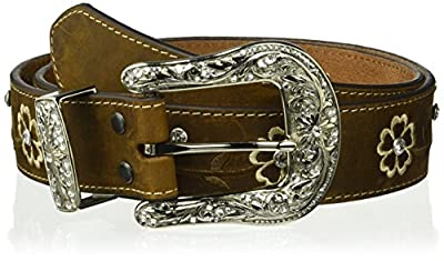 Ariat Women's Floral Stitch Berry Concho Belt, brown, Extra Large