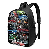 American Muscle Cars Laptop Backpack with USB Charging Port 17 Inch Travel Computer Backpacks for Women Men