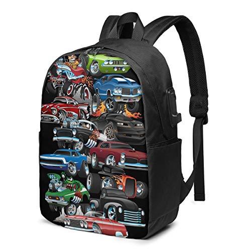 American Muscle Cars Mochila portátil con puerto de carga USB 17 pulgadas viaje ordenador mochilas para mujeres hombres escuela universidad Bookbag