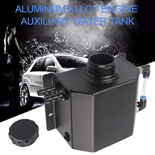 gaeruite Universal 1lL Auto Aluminium Oil Catch Tank con Breather Filter Radiator Refrigerante Expansion Alloy Tank