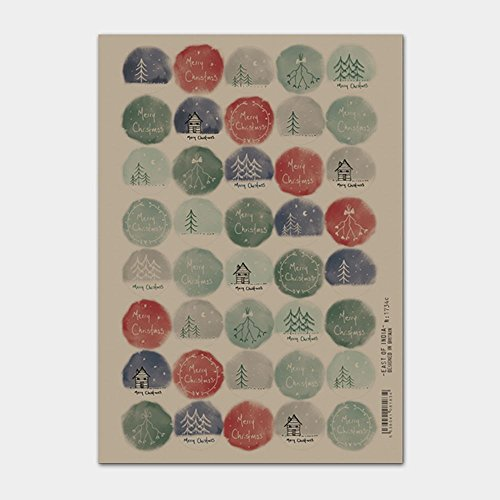 East of India Christmas hand drawn stickers sheet of 40