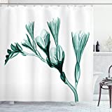 Ambesonne Flower Shower Curtain, X-ray Image of Flower on Simple Background Nature Inspired Illustration Print, Cloth Fabric Bathroom Decor Set with Hooks, 84' Long Extra, Teal and White