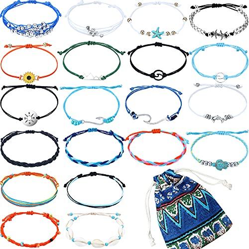 20 Pieces Wave Strand Turtle Starfish Bracelet Anklet Set Handmade Adjustable Friendship Bracelet Handcrafted Bohemian Beach Braided Bracelet for Women Girl