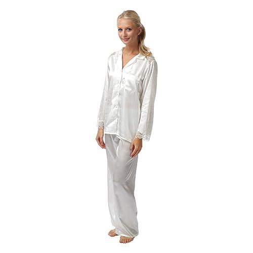 1ef11f60ed Ladies Charmeuse Satin 2 Piece Pyjamas - Ivory 10 - 28