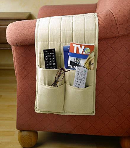 Wenko Armlehnen-Organizer für Couch Oder Sessel - 4 Taschen - Beige - 65 x 26 cm (HxB) - Polyester