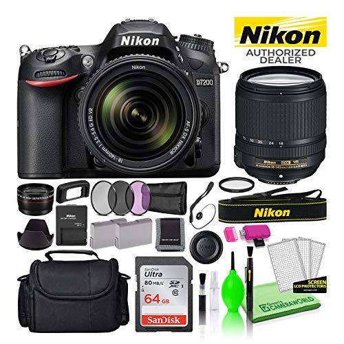 Nikon D7200 24.2MP DSLR Digital Camera with 18-140mm VR Lens (1555) USA Model Deluxe Bundle -Includes- Sandisk 64GB SD Card + Nikon Gadget Bag + Filter Kit + Spare Battery + Telephoto Lens + More